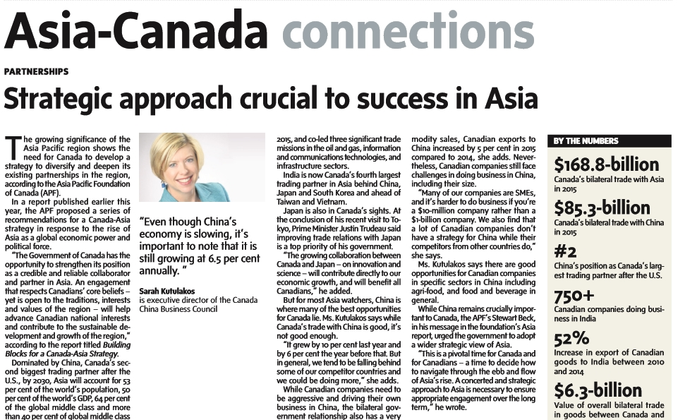 CCBC Executive Director, Sarah Kutulakos, featured in Asia-Canada Connections